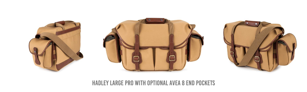 Billingham Hadley Large Pro Camera Bag with optional AVEA 8 end pockets.
