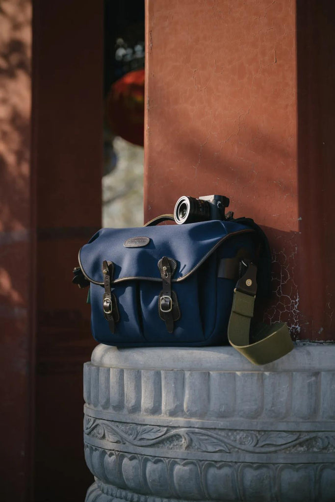 Billingham Hadley One - Navy Canvas and Chocolate Leather - Photo by Liang Dong