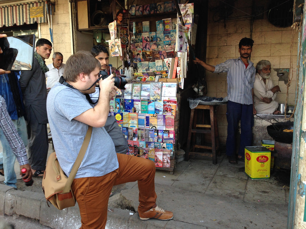 Oggi Tomic with his Canon 5D, in Karachi, Pakistan