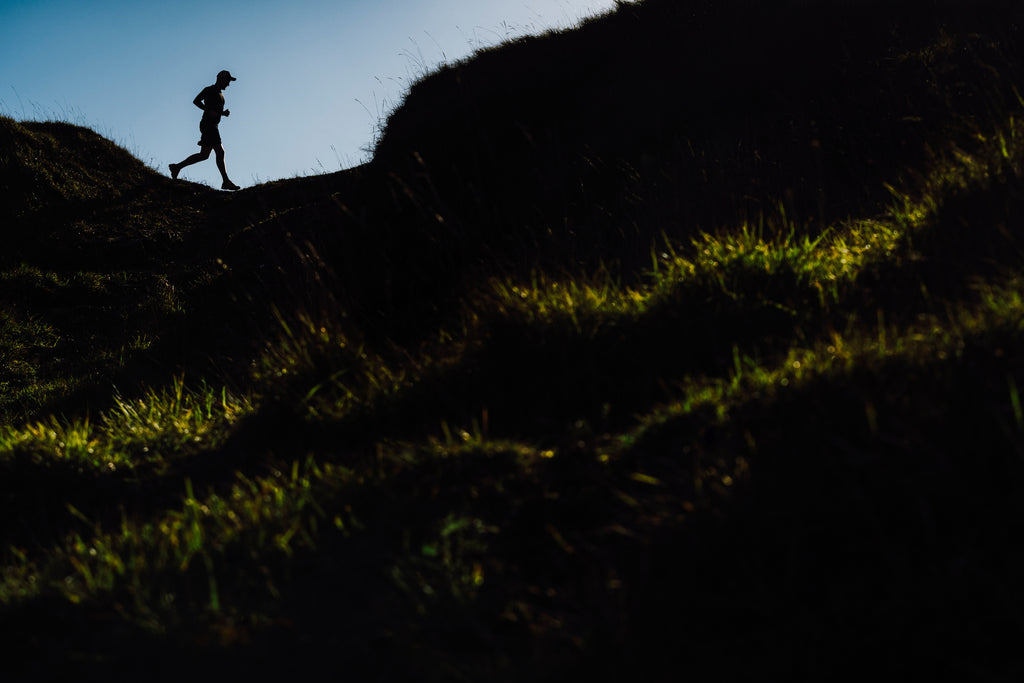 An early morning shoot with tail runner Matt Walford on Cleeve Hill showing the documentary side of Chris's fitness work – Photo by Chris Johnson.