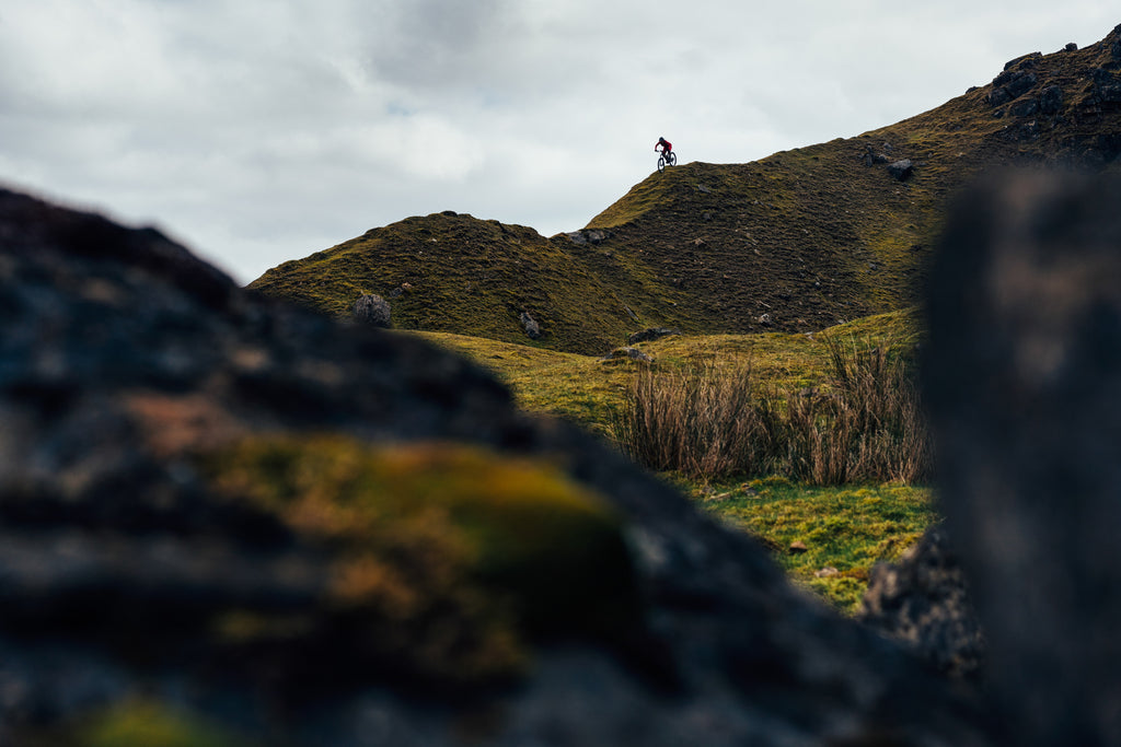 Cycling journalist Jessica Strange on location in the Brecon Beacons – Photo by Chris Johnson.
