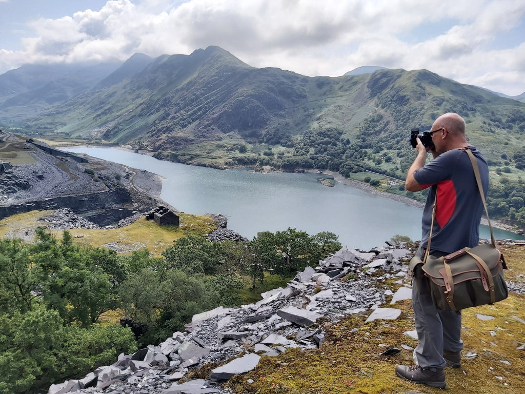Mark Gilligan in Snowdonia with his Billingham 445 Camera Bag
