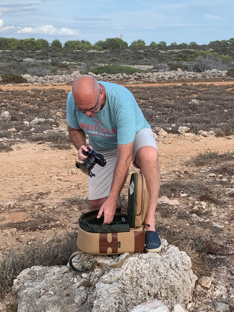 Mark in Menorca, Spain, with his Billingham Rucksack 25