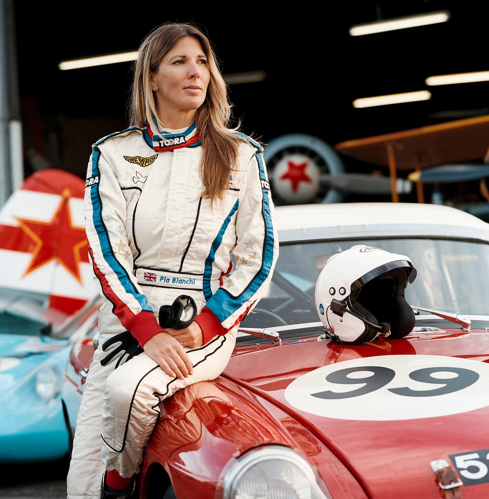 Pia Bianchi - female racing driver and pilot. Photo by Lara Platman