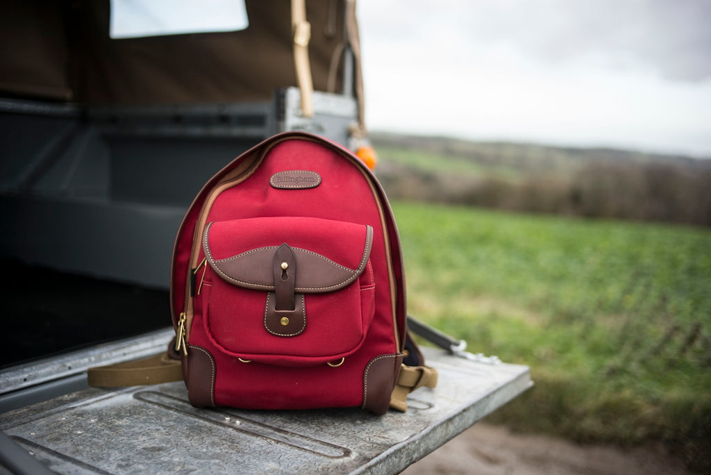 1964 Series 2a Land Rover with Rucksack 35 in Burgundy Canvas and Chocolate Leather. Photo by Lara Platman.
