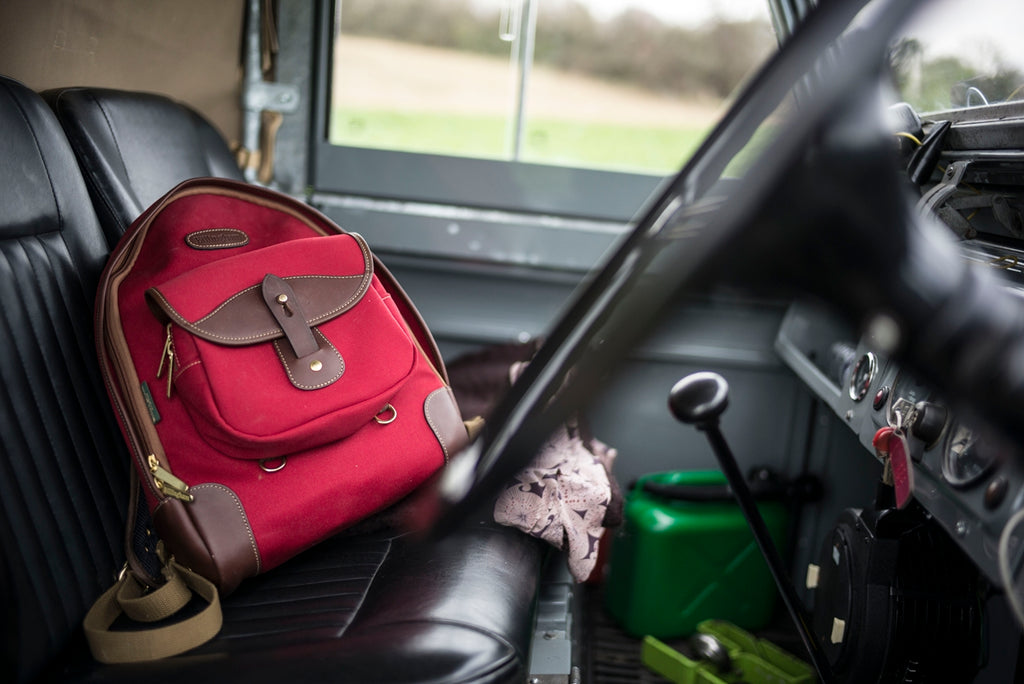 Lara's Billingham Rucksack 35 in Burgundy Canvas and Chocolate Leather. Photo by Lara Platman.