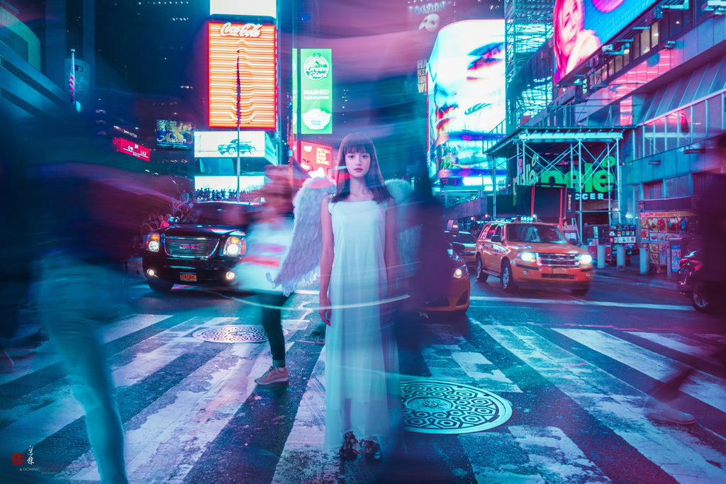 Times Square street angel, New York. Photo by Liang Dong.
