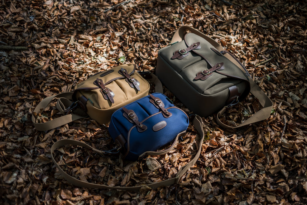 The Billingham Hadley Small Pro and Billingham Hadley One. Shown in Khaki FibreNyte, Navy Canvas and Sage FibreNyte. All with Chocolate Leather.