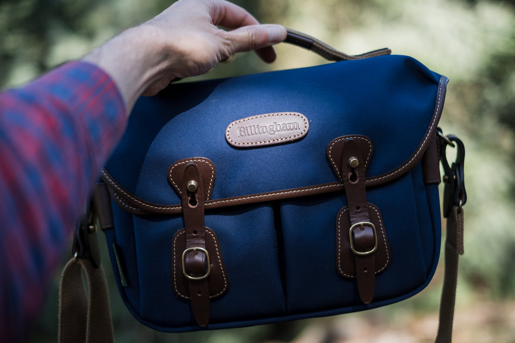 The Billingham Hadley Small Camera Bag in Navy Canvas and Chocolate Leather up close. Photo be Robert-Paul Jansen