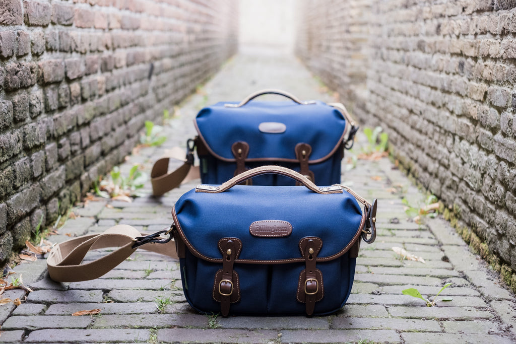 Billingham Hadley One (rear) and Hadley Small Pro (front) Camera Bags in Navy Canvas with Chocolate Leather.