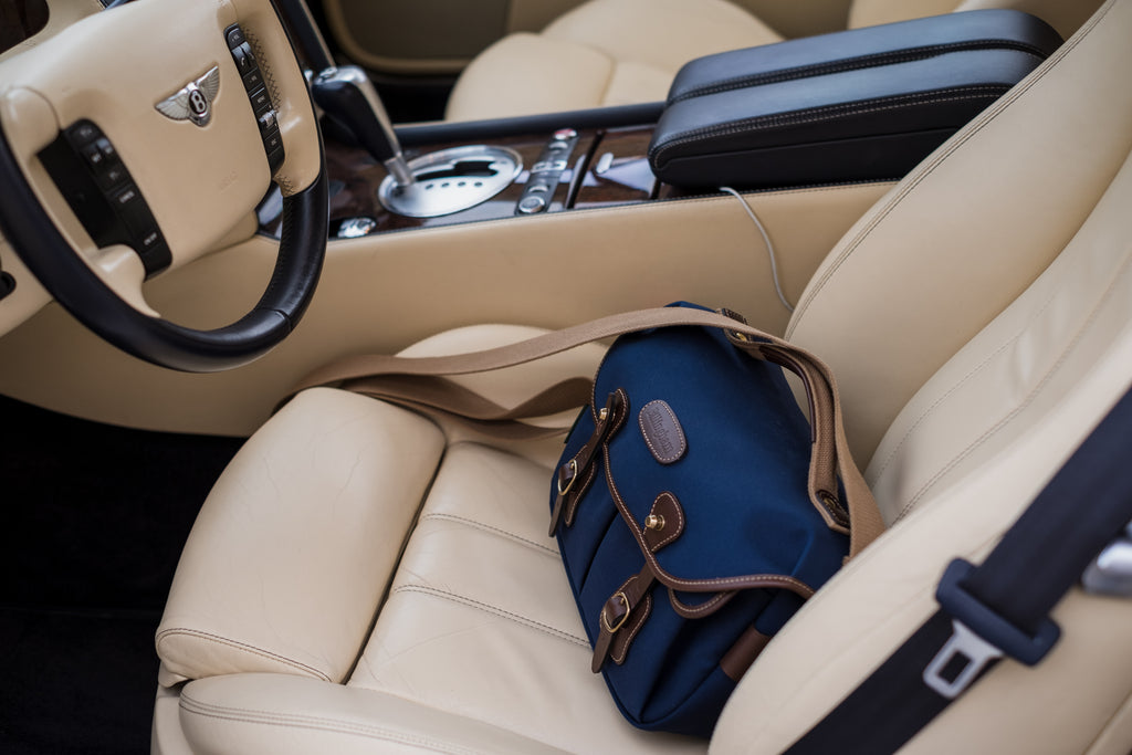 The Billingham Hadley Small Pro Camera Bag in a Bentley car.
