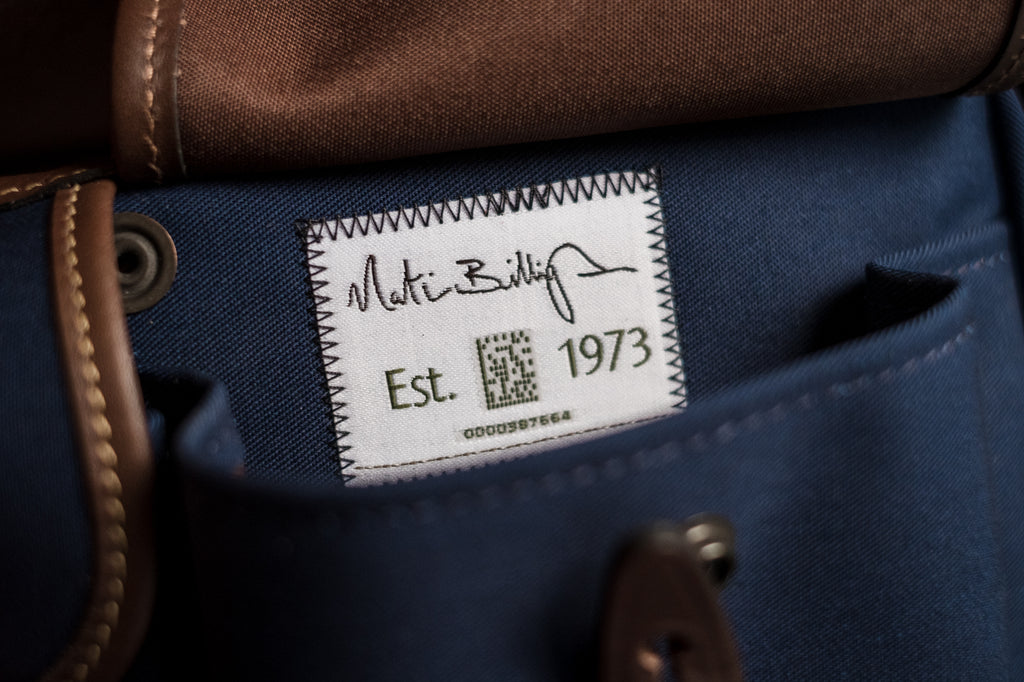 The Billingham 'UI' Serial number inside the front pocket of the Hadley Small Pro Camera Bag.