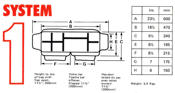 Billingham System 1 Camera Bag Dimensions
