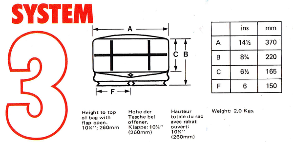 Billingham System 3 Camera Bag Dimensions