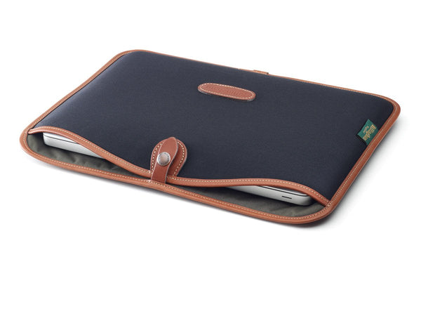 "13"" Laptop Slip Black Canvas/Tan Leather"