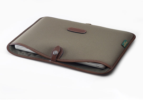 "3"" Laptop Slip Sage Fibrenyte/Chocolate leather"