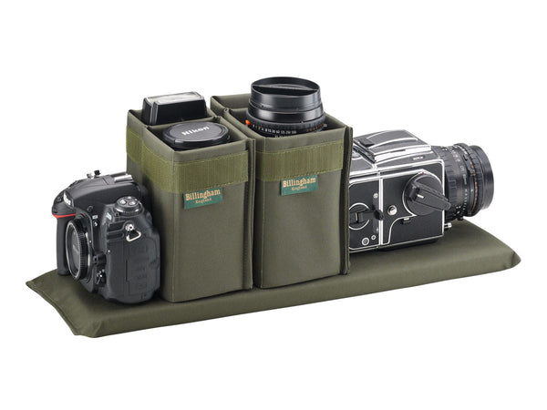 Billingham 550 with Hassleblad and Nikon Camera layout alternative