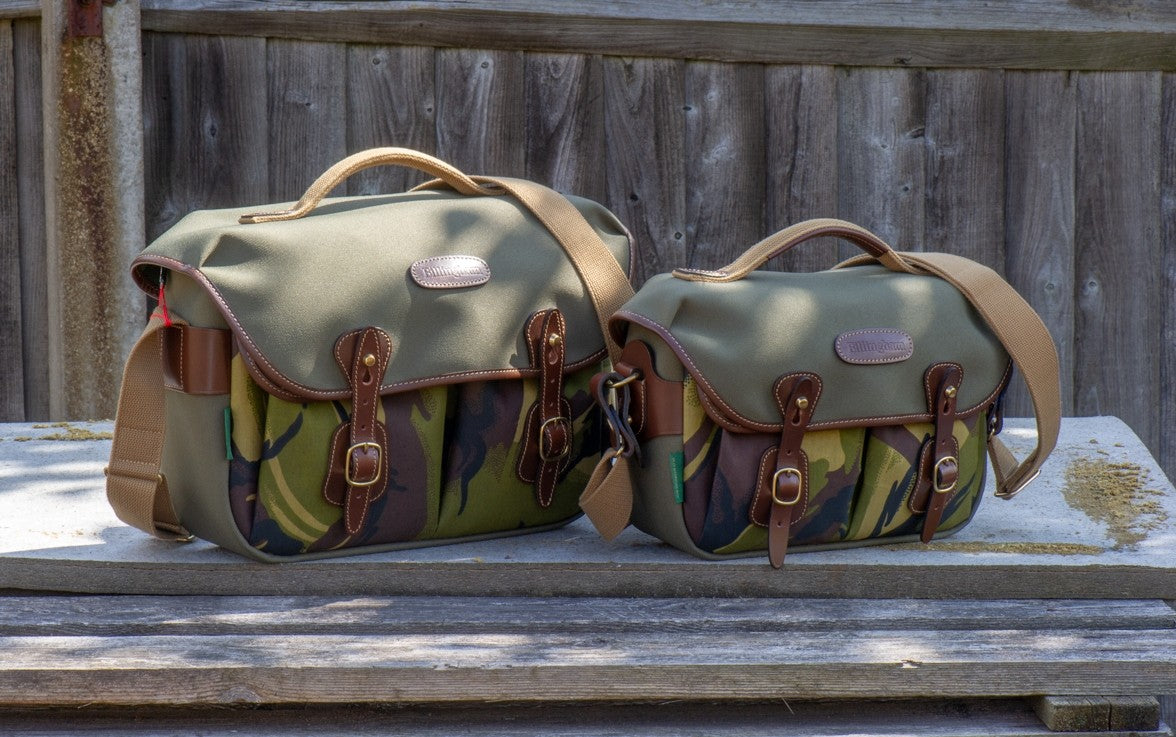 Billingham Hadley Pro & Hadley Small Pro side-by-side. Sage FibreNyte/Camo Front (Chocolate Leather)