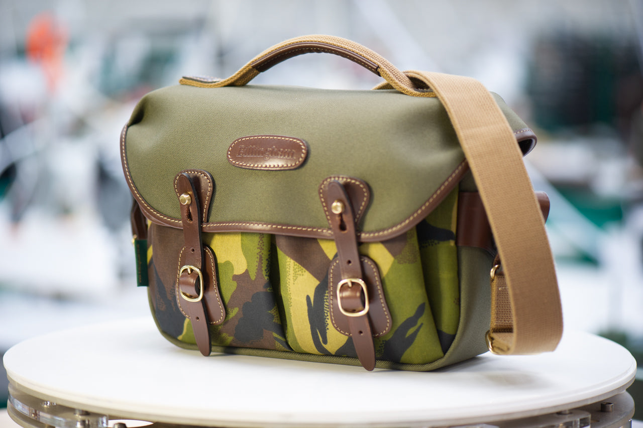 Billingham Hadley Small Pro Camera Bag - Sage FibreNyte / Camo Front (Chocolate Leather)
