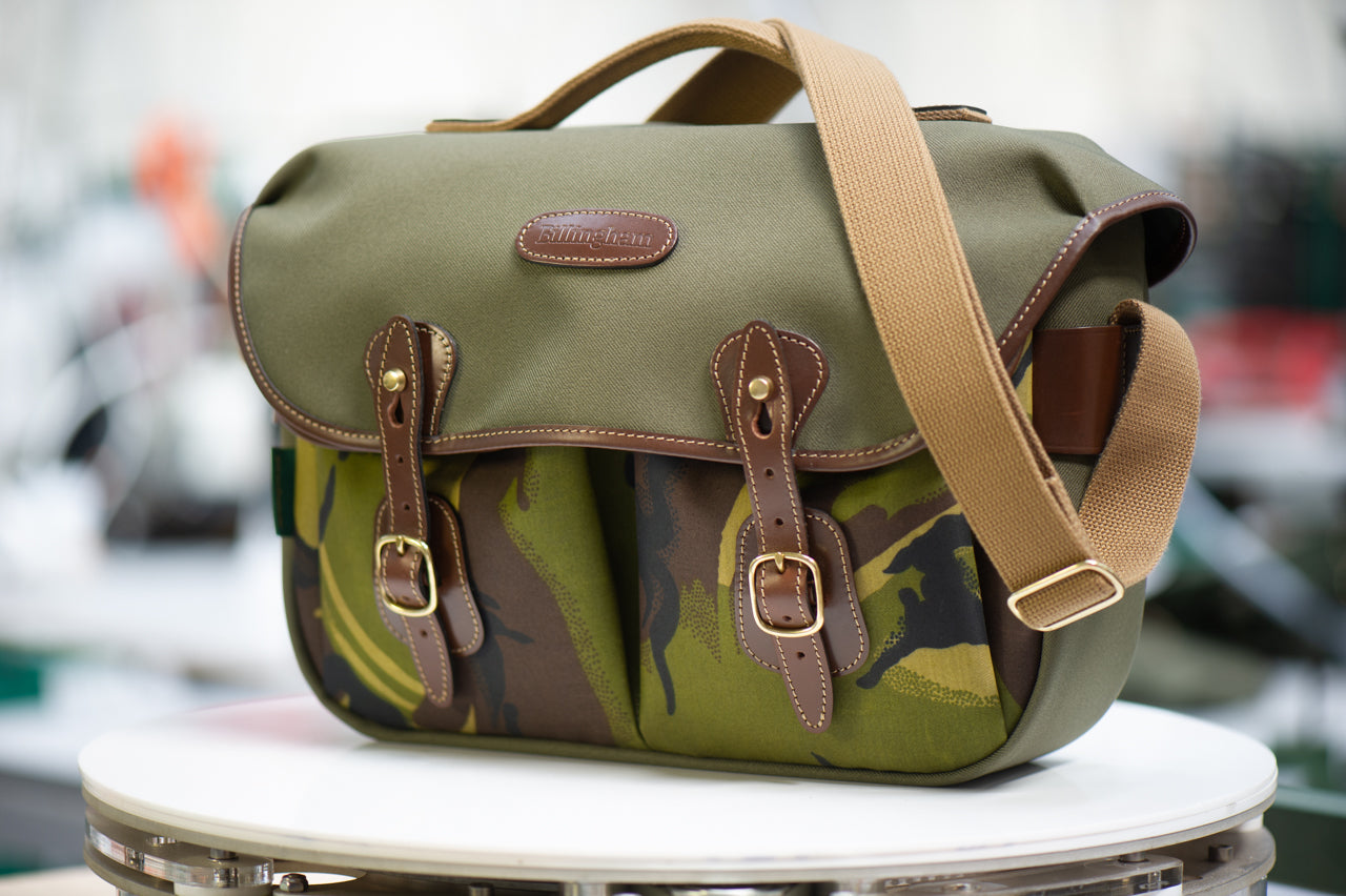 Billingham Hadley Pro Camera Bag - Sage FibreNyte / Camo Front (Chocolate Leather)