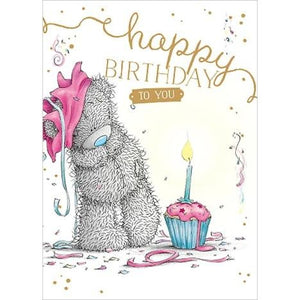 Bear with candle cupcake - Birthday Card