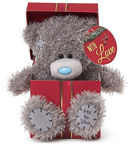 Teddy sitting in Xmas Gift Box - 7'' Bear