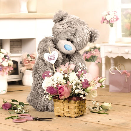 Bear with Flower Basket Birthday Card (3D Holographic)