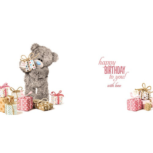 Bear Holding Gift Birthday Card (3D Holographic)