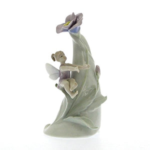 Pixie on Flowering Tree Stump Glazed Figurine and working bell