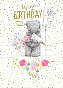 Bear waiting at front door - Birthday Card