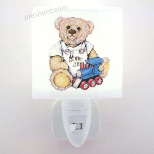 Night Light, Square face shaped - Teddy Bear with train Design