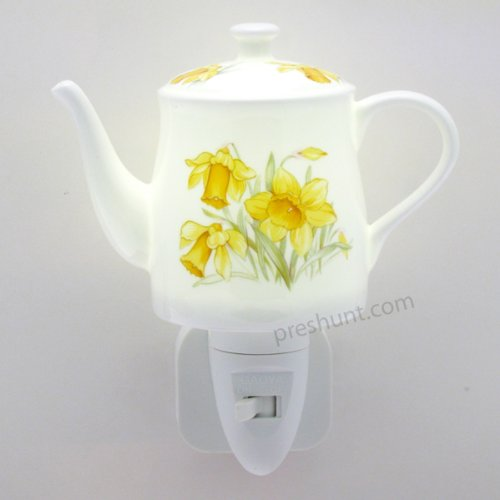 Night Light, Coffee Pot shape - Daffodil Floral Design