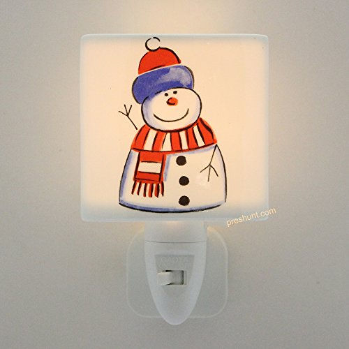 Night Light, Square face shaped - Happy Snowman Design
