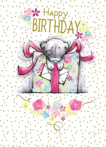 Bear with Big Gift - Birthday Card