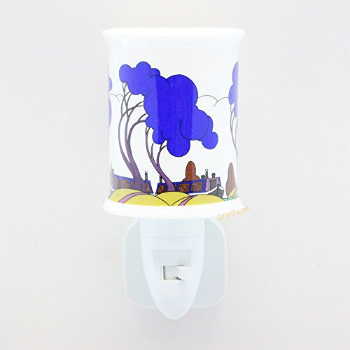 Night Light - Canel Boat, Blue Trees Design - Clarice Cliff inspired
