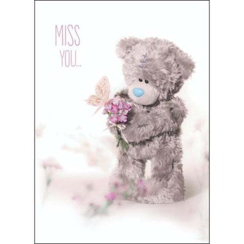 Bear with Flower and Butterfly - Miss You Card