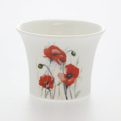 Red Poppies Bone China Tea Light Holder - Thank You