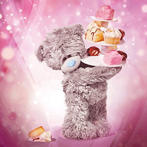 Bear with Tiered Cupcakes Birthday Card (3D Holographic)