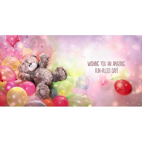 Bear in Balloon Pool Birthday Card (3D Holographic)