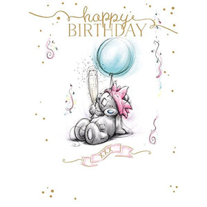 Bear with Champagne and Balloon - Birthday Card