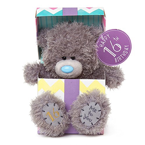 16th Birthday Teddy sitting in Gift Box - 7'' Bear