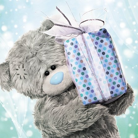 Bear Holding a Large Present Birthday Card (3D Holographic)