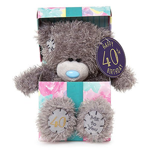 40th Birthday Teddy sitting in Gift Box - 7'' Bear