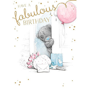 Bear by Door - Birthday Card