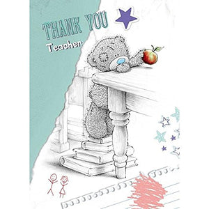 Bear with Apple - Thank You Teacher Card