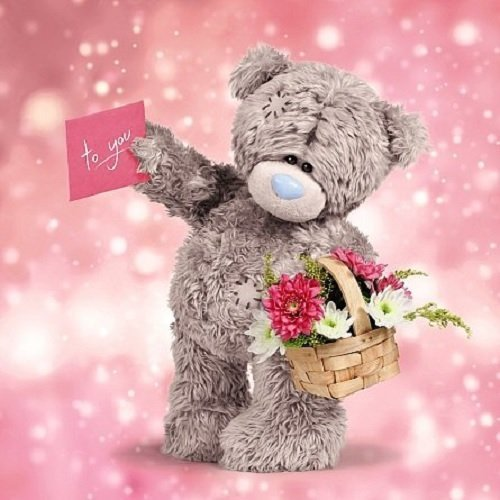 Bear with Basket of Flowers Birthday Card (3D Holographic)