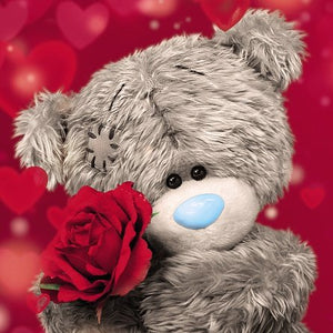 Bear with Rose With Love Greetings Card (3D Holographic)