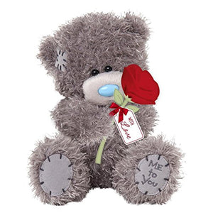 Teddy with Single Red Rose - 7'' Bear