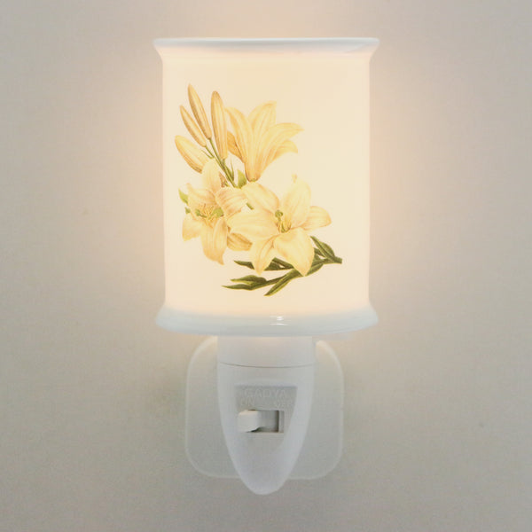 LED Ceramic Night Light - Cream Lillies Design