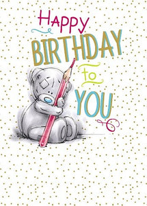 Bear with Pencil - Birthday Card